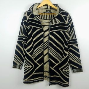 Angie Geometric Print Open Front Sweater Size M
